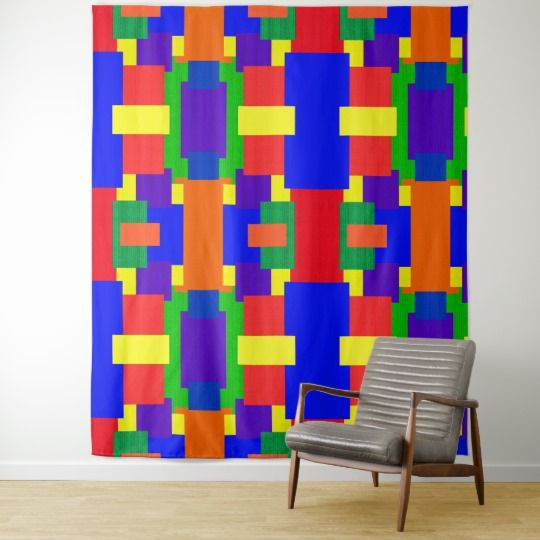 Rainbow Patchwork Quilt Pattern Wall Tapestry