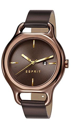 Esprit Naomi Women's Quartz Watch with Brown Dial Analogue Display and Brown Leather Strap ES107932007