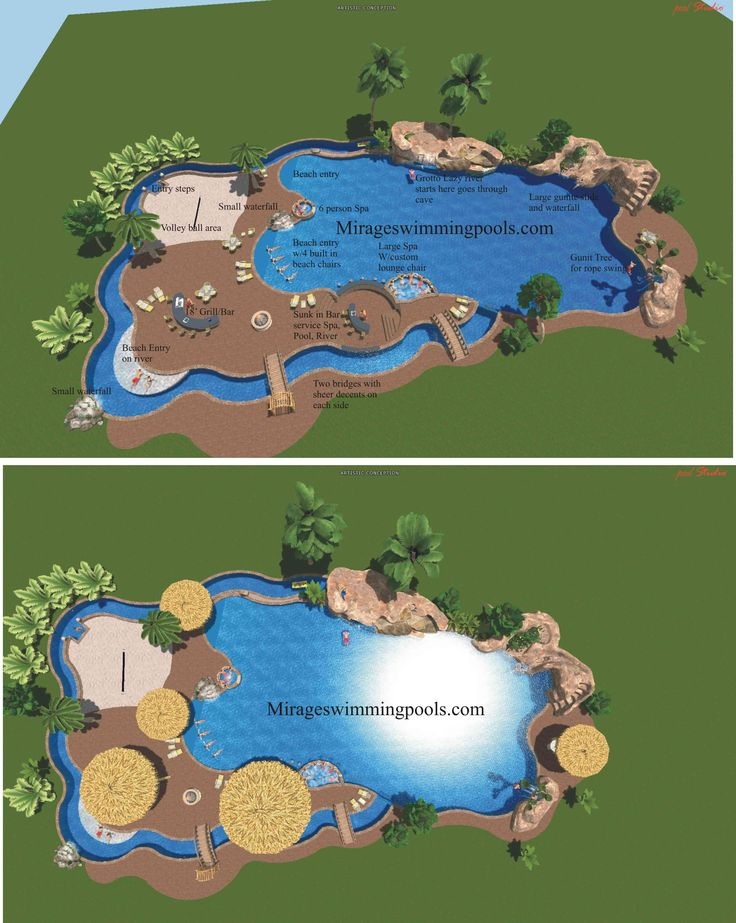 This may be the coolest pool ever. It has a 450 foot lazy river that starts in a grotto and goes under , three waterfalls, gunite tree with a rope swing, multiple beach entries, a beach area with a volleyball net, two spas, two bridges, and in-pool bar stools!