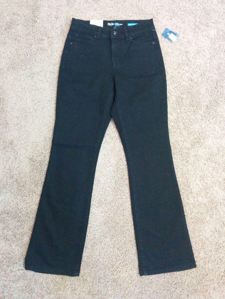 Style & Co black bootcut jean pants w/ tummy panel, 2 Petite, 2P, #1830 #Styleco #BootCut