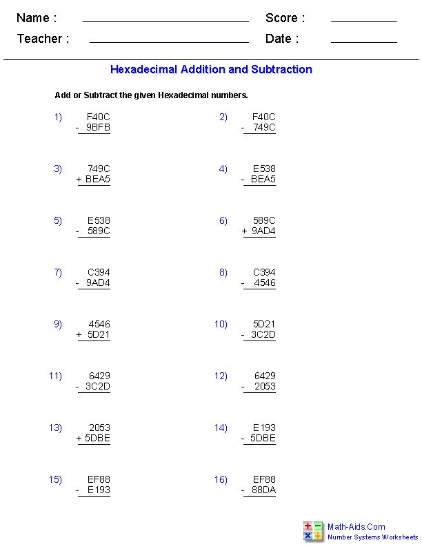 Binary operations worksheets pdf