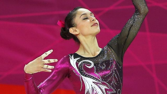 Elsa Garcia Rodriguez Blancas of Mexico competes in the floor exercise during the women's gymnastics qualification in London