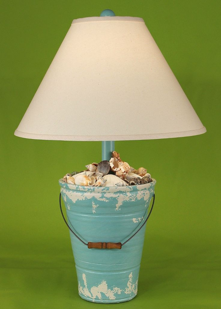Turquoise distressed beach bucket shell lamp these lamps for Beach cottage lighting fixtures