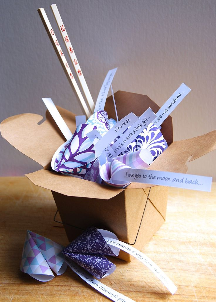 Personalized Paper Origami Fortune Cookies in Takeout Box and Chopsticks with Customized Messages Baby Shower Birthday Gift. This personalized takeout box of paper fortune cookies, features 15 beautiful hand-made fortune cookies containing customizable messages, this was a custom order for a Korean Baek-il! They are in a cardboard takeout box and finished with wooden chopsticks, for a unique, playful feel! These are made to order, with the basic design as shown, but they can be customized...