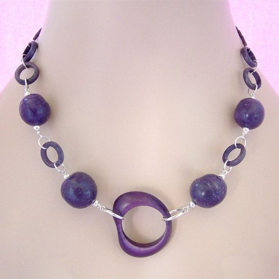Stellar Rings Vegan Tagua Nut Necklace  by brizel4TheAnimals