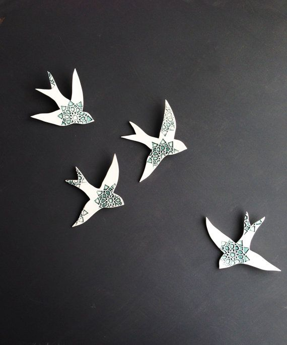 """Porcelain wall art """"Swallows over Morocco"""" Modern ceramic wall art with moorish design - great bathroom or kitchen art - completely waterproof!"""