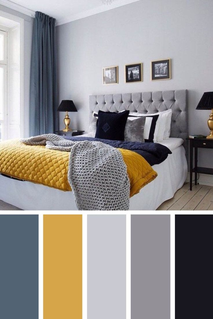 Yellow, grey, black and slate.  Best bedroom colors, Beautiful