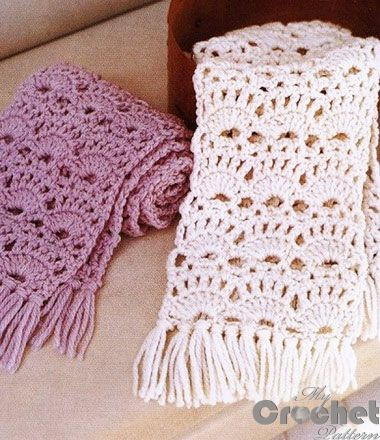 crochet lace scarf in white and purple ...There are diagrams and a written pattern for this lace scarf..very pretty!!