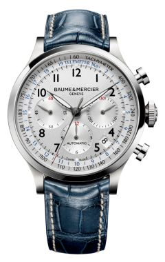 Baume & Mercier C4APELAND - 10063 A steel and round 44mm chronograph watch for men, the Capeland 10063 comes with an automatic movement featuring tachymeter, telemeter and date functions, and is delivered on a leather strap.