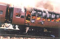 2002 Gujarat riots was a three-day period of inter-communal violence in the western Indian state of Gujarat. Following the initial incident there were further outbreaks of violence in Ahmedabad for three weeks; statewide, there were further outbreaks of mass killings against the minority Muslim population for three months.The burning of a train in Godhra which caused the deaths of 58 Hindu pilgrims and religious workers returning from Ayodhya, is believed to have triggered the violence.