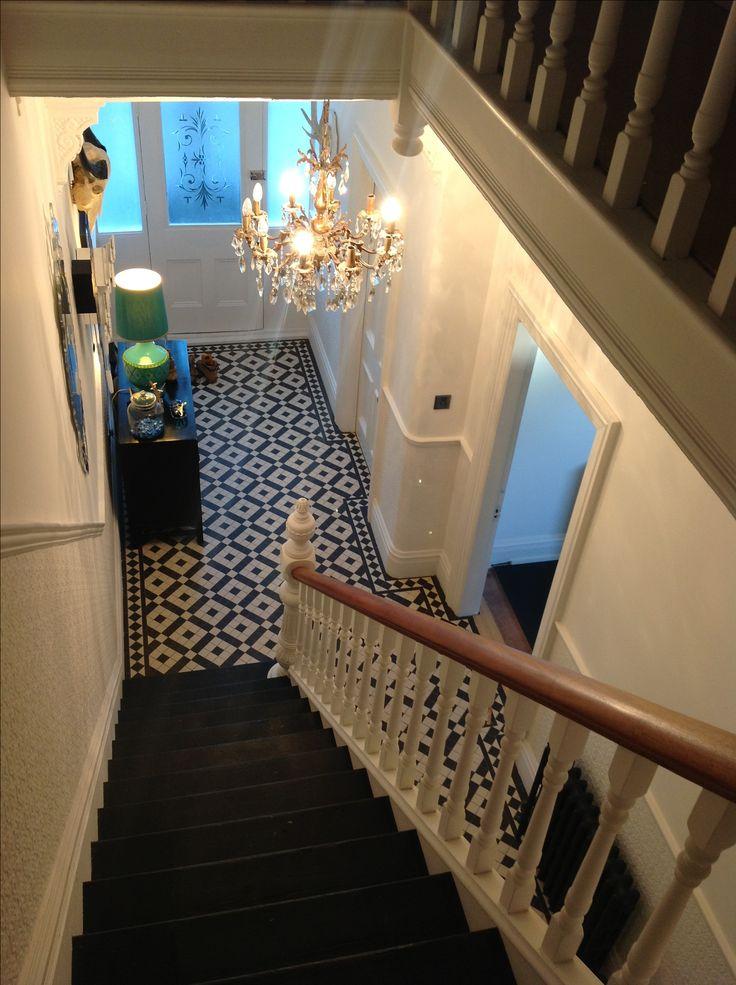 Tiled hallway and amazing lighting
