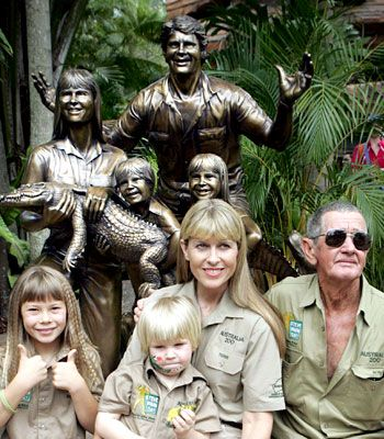 Bindi, Robert and Terri Irwin with Steve's dad, Bob Irwin senior spotting at Australia Zoo, Queensland, Australia.   v@e.
