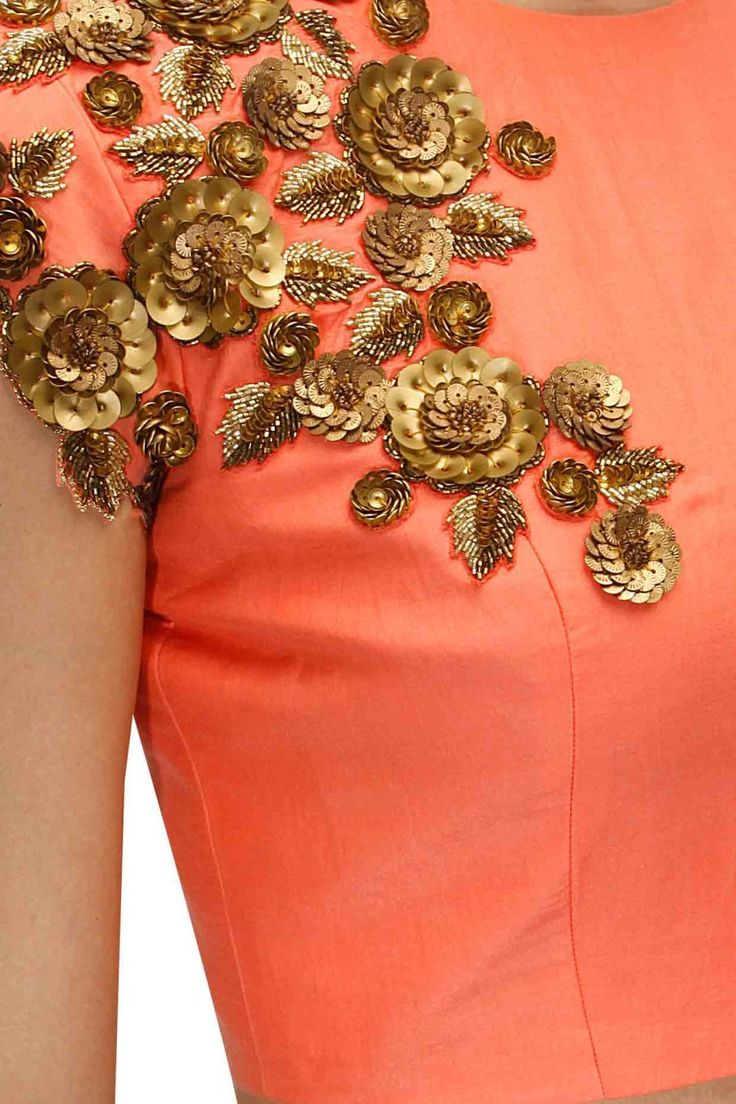 Peach and off white floral sequins embroidered lehenga set available only at Pernia's Pop-Up Shop.