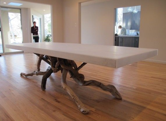 Our house isn't modern enough for this look, but I can dream! Float Dining Table by benforgeydotcom on Etsy, $4200.00
