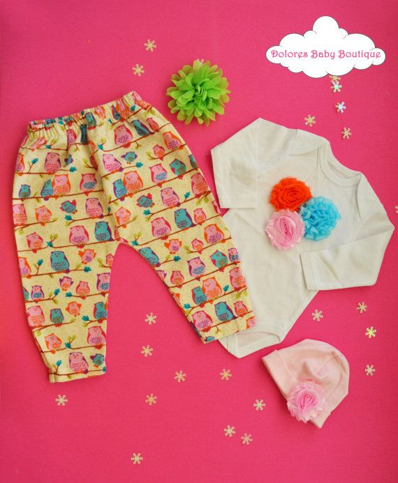 Baby Girl Set Owl Baby Pants Cotton Onesie by DoloresBabyBoutique