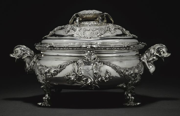 c1737 A George II silver soup tureen and cover, John Edwards, London, 1737 Estimate   120,000 — 180,000  GBP 155,112 - 232,668USD LOT SOLD. 200,000 GBP (258,520 USD) (Hammer Price with Buyer's Premium)