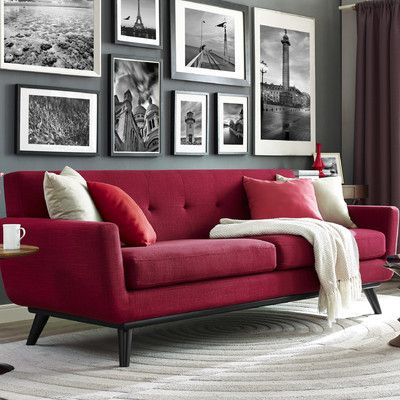 Red sofa cushions sofa graceful red combination thesofa Red sofa ideas