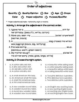 The order of adjectives worksheet English Grammar