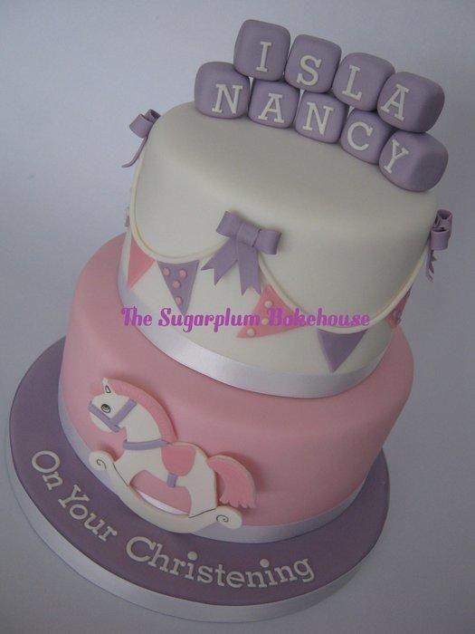 2 Tier Baby Girl Christening Cake