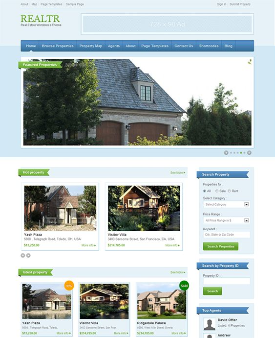 This real estate WordPress theme offers a responsive layout, a widgetized homepage, a price package functionality, a homepage slider, list, grid and map view options for listings, built-in payment gateways, MLS/IDX support, 30 integrated shortcodes, and more.