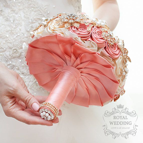 Gold Jeweled Brooch Bouquet Blush Pink Rode Ivory Bridal Coral Wedding Bouquet Brides Keepsake Bridesmaids Jewelry Broach Brooch Bouquet