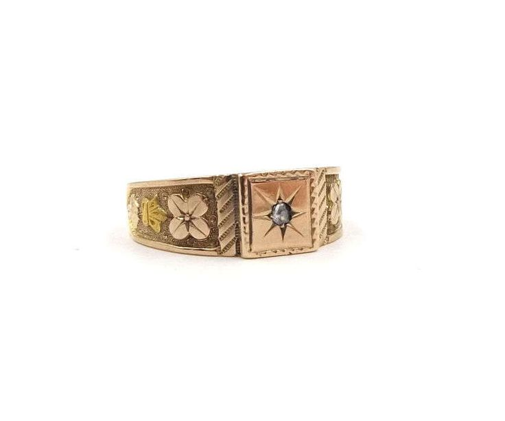 Antique 15ct Gold Diamond Ring | 15k Signet Ring | Victorian Men's Ring | UK size V ~ US size 10 1/2 by DaisysCabinet on Etsy