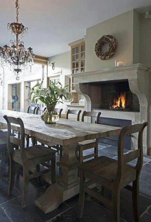 Prachtige landelijke keuken Lichtinval vanuit woonkamer en donkerste hoek zet je gewoon een haard neer?