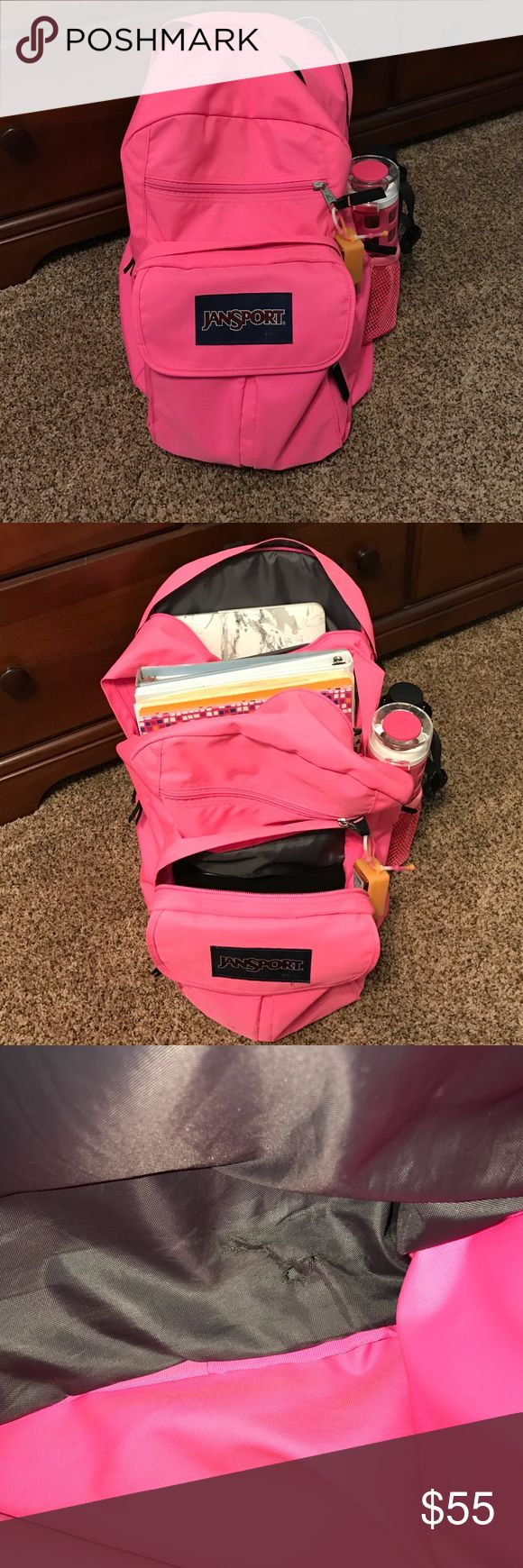 Jansport backpack Hot pink Jansport backpack. Used. In great condition. Only damage is on the inside shown in 3rd picture. Has room for a laptop, plenty of books, and a tablet. Jansport Bags Backpacks