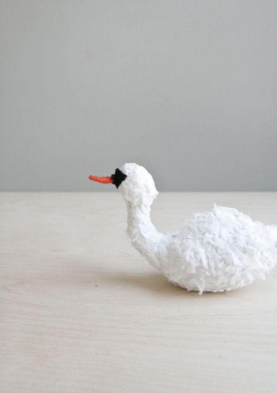 soft sculpture swan / handmade bird