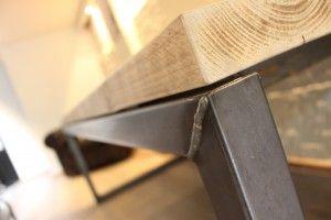 Eettafel steigerhout staal - handmade - Industrial design - recycled wood