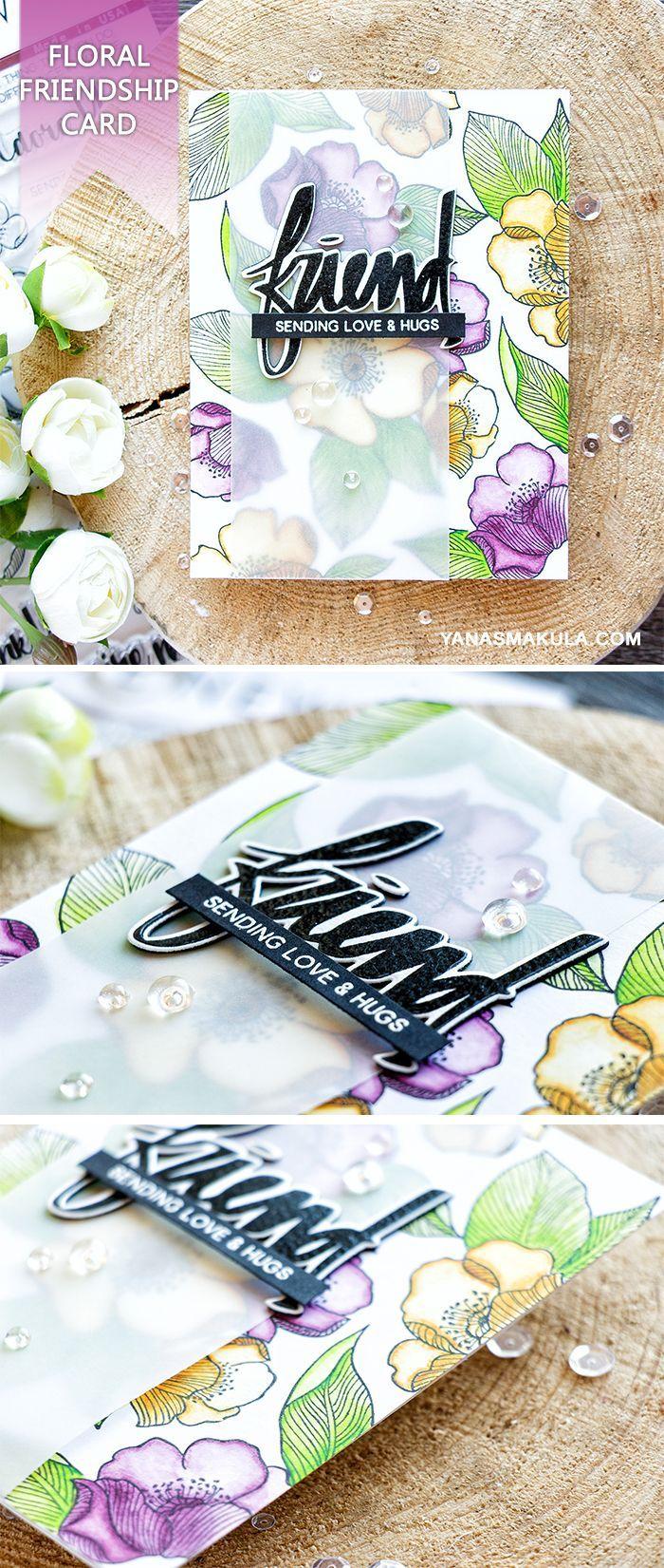 Create a beautiful floral friendship card using Altenew Adore You & Super Script stamp sets. For details, please visit http://www.yanasmakula.com/?p=56117
