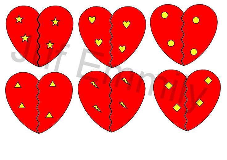 Draaischijfspel: De ene helft van de hartjes hangen aan de draaischijf. De kleuters zoeken de passende helft. (Juf Emmily)