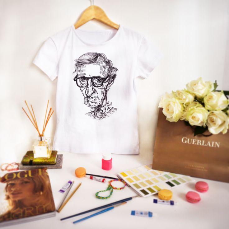 """Дизайнерские женские футболки """"Woody Allen"""", размеры XS, S, M, L, XL, 2XL. Цена 990 руб"""
