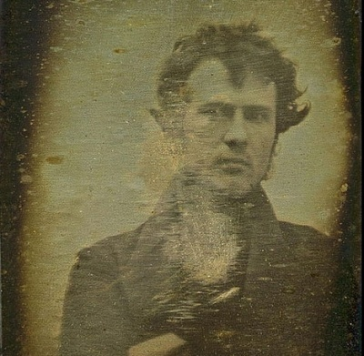 """The First Self Portrait Photo In History       Robert Cornelius, self portrait, made in October 1829. The back reads, """"The first light picture ever taken"""".                                                                                             So self-conscious"""