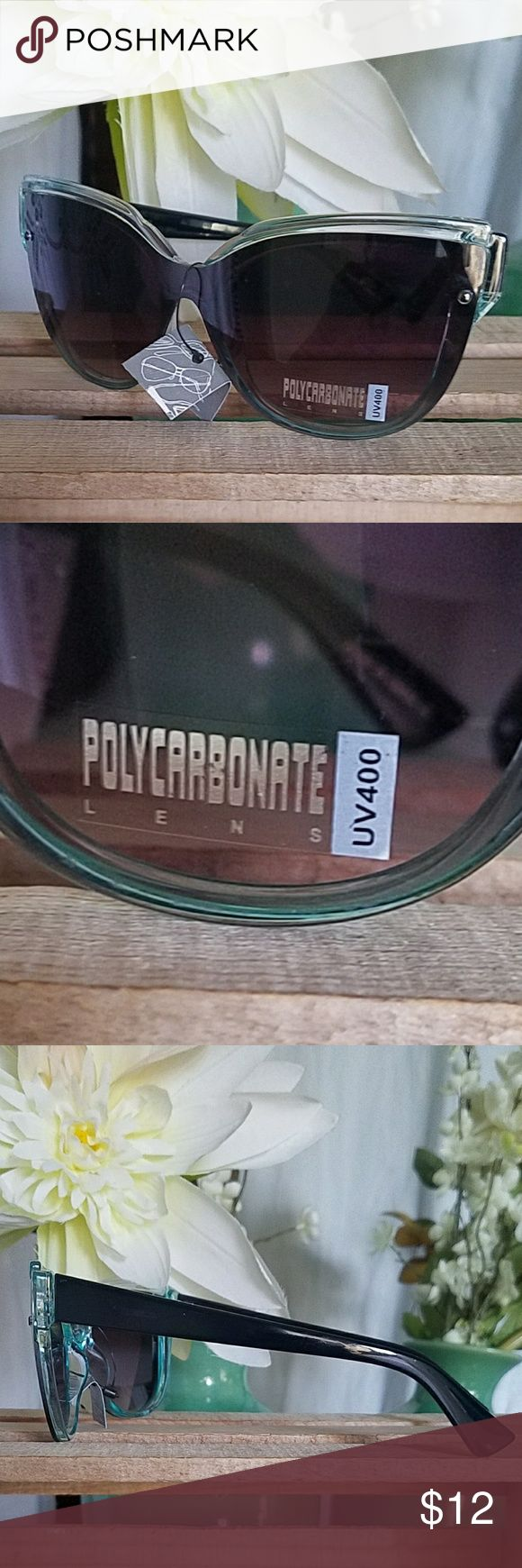 Green Framed Polycarbonate Sunglasses MEASUREMENTS: 🛍 Eye 50 mm 🛍 Bridge 12 mm 🛍 Temple 146  CONDITION: NWT  Polycarbonate lenses UV 400 Green Lucite frames Brown lenses Black arms Accessories Glasses