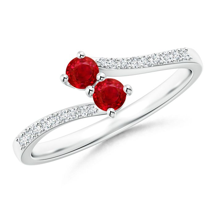 Angara Secured Prong Ruby Solitaire Ring with Tiny Diamonds in Platinum PqkrgCP