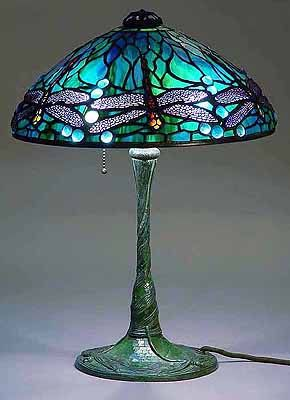 Dragonfly Tiffany Lamp 1585 On Glass Mosaic Bronze Base