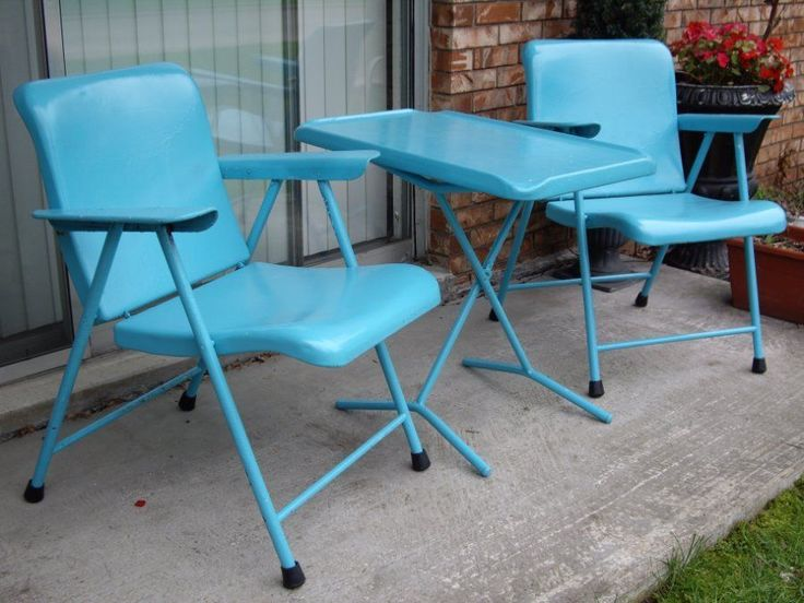 RARE Complete 3pc Set - 1950's Russel Wright Samson Mid Century folding Metal Patio Chairs and Table. With Very Scarce Folding Table. Table can be set up in two positions, chair arm height or seat height (SEE ALL PHOTOS). | eBay!..