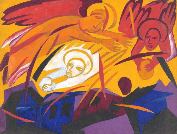 http://www.livejournal.com/media/1517850.html Картина Натальи Гончаровой «Ангелы, мечущие камни на город» входит в её живописный цикл «Жатва» 1911 года и, как и другие полотна этого цикла, не просто отвлеченно иллюстрирует текст Апокалипсиса Иоанна Богослова, но является произведением поистине теургического искусства, интерпретирующим и актуализирующим древние пророчества через акт мистического озарения художника.