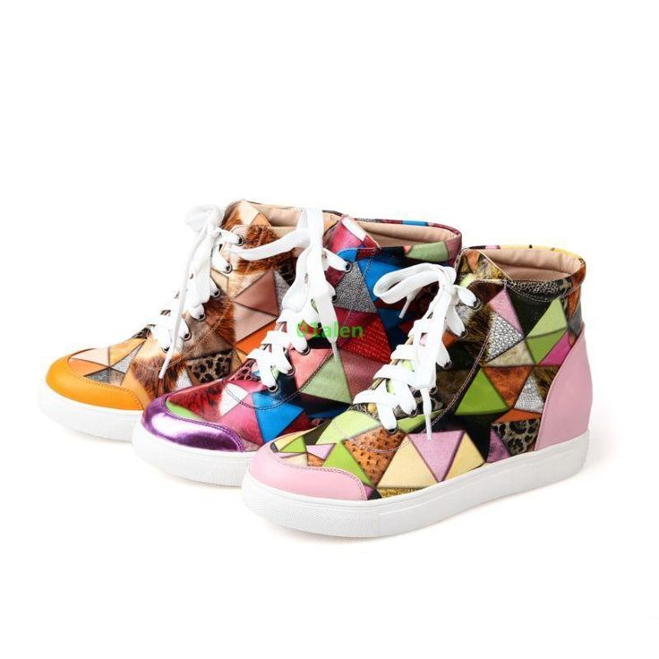 Women Chic Multi-Color Splice Colors Leisure Hidden Wedge Heels Strappy Sneakers