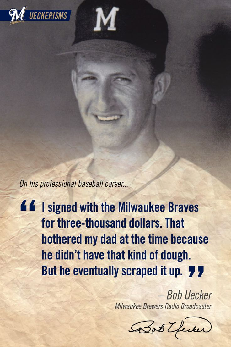 """I signed with the Milwaukee Braves for three-thousand dollars. That bothered my dad at the time because he didn't have that kind of dough. But he eventually scraped it up."" #UECKER #BREWERS"