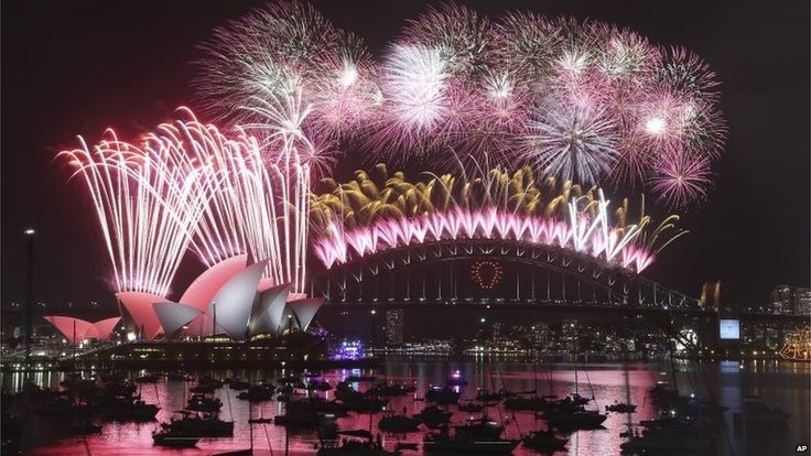 New Year fireworks in Sydney (eleven hours ahead of Greenwich)