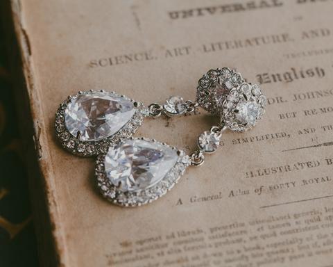 Wedding Earrings - Crystal And Silver Teardrop Earrings, Maisy