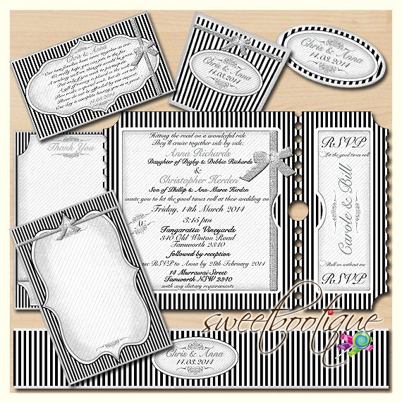 PERSONALIZED Black & White Wedding Stationery Set by SweetBootique, $50.00