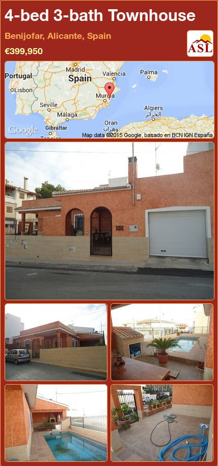 4-bed 3-bath Townhouse in Benijofar, Alicante, Spain ►€399,950 #PropertyForSaleInSpain