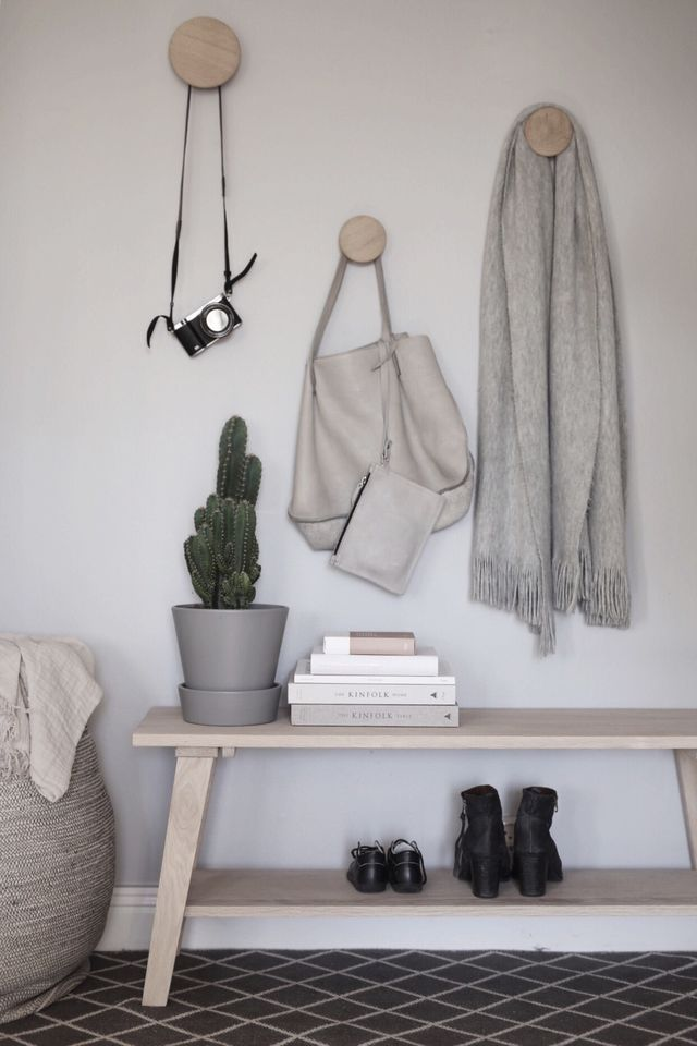 Anna Kubel's styling of The Muuto Dots. Scandinavian hallway inspiration with pale wood.