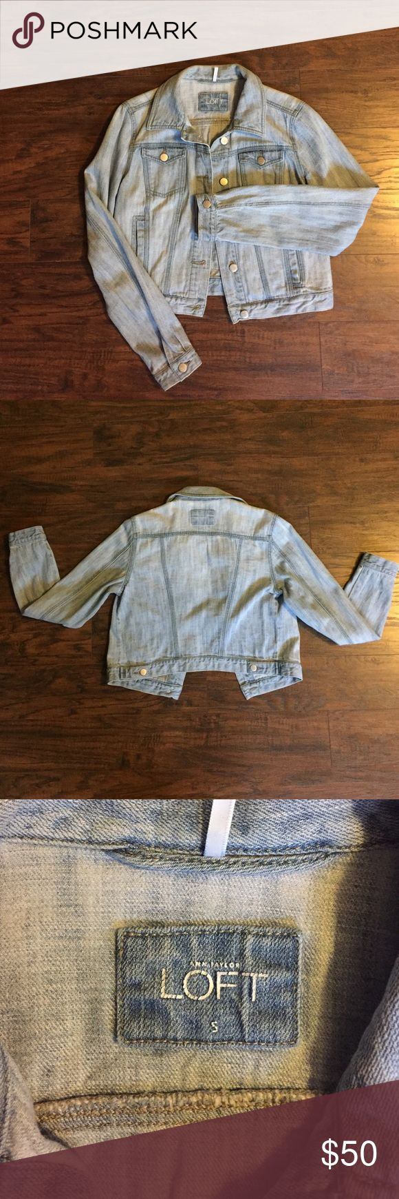 LOFT light wash denim jacket Great condition. Light wash. 4 pockets in total, all real (not faux). Silver button closure up front and on wrists. LOFT Jackets & Coats Jean Jackets