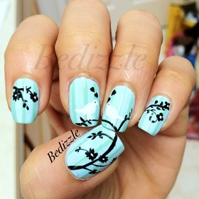 very cool!  extended branch: Nails Art, Cute Nails, Nails Design, Wedding Nails, Spring Nails, Black Flower, Popular Nails, Birds Nails, Blue Nails