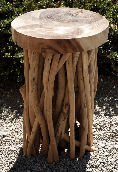 Natural Wood Slab Zuna  Branch 20 in. Stool $129    SBG would love to make something just like this from firewood and sticks and a good chainsaw.