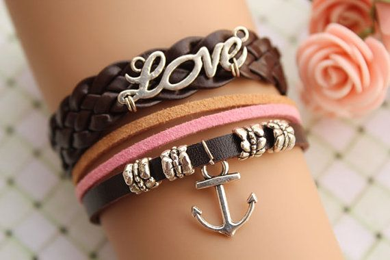 Love this!: Loveretro Silver, Brown Leather, Leather Chain, Love Bracelets, Anchor Bracelets, Leather Bracelets, Love Letters